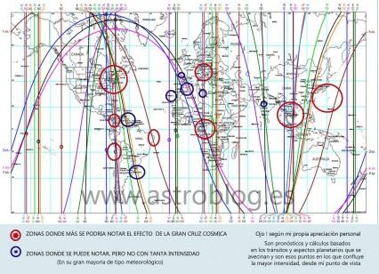 Mapa Mundial con Tránsitos Gran Cruz Cósmica 2014
